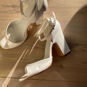 White Patent Peep Toe Heeled Sandals